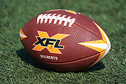 Detailed view of XFL logo football on the field during Los Angeles Wildcats practice, Wednesday, Feb. 5, 2020, in Long Beach, Calif. The Wildcats are part of the eight-team XFL, a professional American football league owned by Vince McMahon's Alpha Entertainment, with  headquarters in Stamford, Connecticut. It is the successor to the original XFL, which was controlled by the World Wrestling Federation (WWF, now WWE)  and NBC, and ran for a single season in 2001.