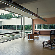 Poissy, France, 2002: View of the living room at first floor, Savoie house (1929) at street of Villers - Le Corbusier arch - . Photographs by Alejandro Sala, (Historical archive AS)