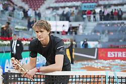 May 13, 2018 - Madrid, Madrid, Spain - ALEXANDER ZVEREV and his trophy after the final match against DOMINIC THIEM during the Mutua Madrid Open 2018 - ATP in Madrid. ALEXANDER ZVEREV won the match 6-4 6-4. (Credit Image: © Patricia Rodrigues via ZUMA Wire)