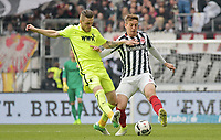 v.l. Jeffrey Gouweleeuw (Augsburg), Bastian Oczipka<br /> Frankfurt, 22.04.2017, Fussball Bundesliga, Eintracht Frankfurt - FC Augsburg<br /> <br /> Norway only
