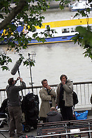 EMMA THOMPSON & DUSTIN HOFFMAN , AN EMOTIONAL TAKE FILMING ROMANTIC FILM LAST CHANCE HARVEY   ON LONDON'S SOUTH BANK High Quality Prints please enquire via contact Page. Rights Managed Downloads available for Press and Media