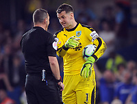 Football - 2018/ 2019 Premier League - Chelsea vs Burnley<br /> <br /> Goalkeeper, Tom Heaton of Burnley argues with Referee Kevin Friend after being booked for time wasting at Stamford Bridge<br /> <br /> Colorsport  / Andrew Cowie