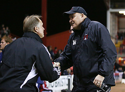 Leyton Orient Manager, Russell Slade shakes hands with Bristol City Head coach, Sean O'Driscoll - Photo mandatory by-line: Matt Bunn/JMP - Tel: Mobile: 07966 386802 26/11/2013 - SPORT - Football - Bristol - Ashton Gate - Bristol City v Leyton Orient - Sky Bet League One