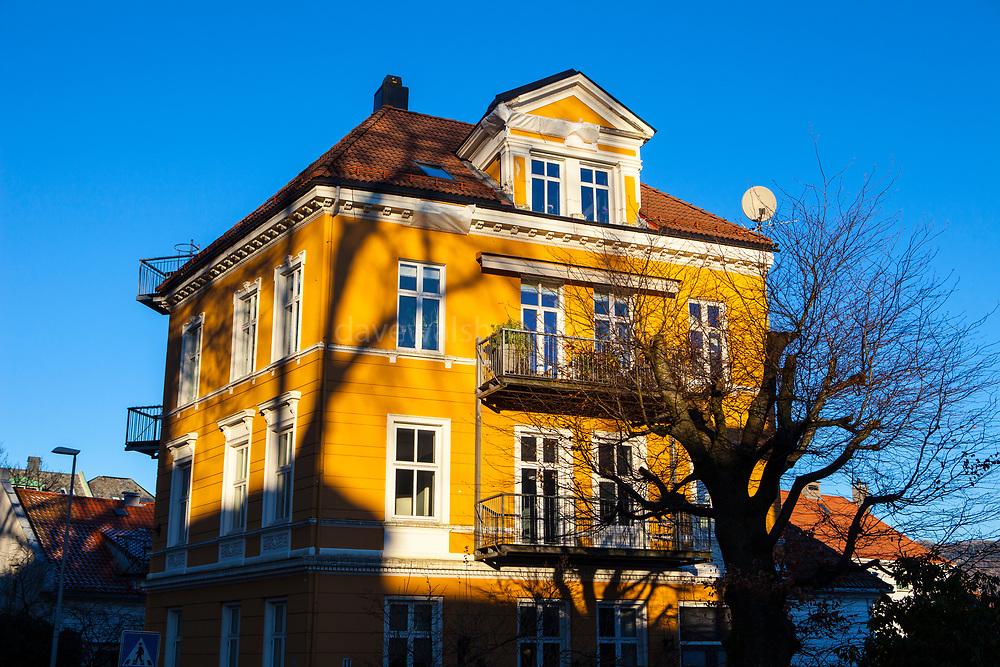 Yellow house in Nordnes, Bergen, Norway