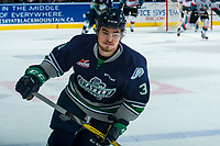 KELOWNA, CANADA - APRIL 26: Anthony Bishop #3 of the Seattle Thunderbirds skates against the Kelowna Rockets on April 26, 2017 at Prospera Place in Kelowna, British Columbia, Canada.  (Photo by Marissa Baecker/Shoot the Breeze)  *** Local Caption ***