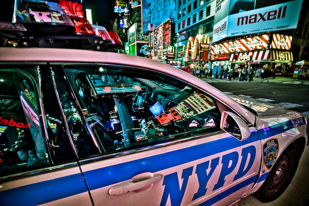 A police car parked in the middle of Times Square, Manhattan, New York, 2010.