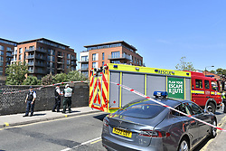 The scene of a fire in a block of flats in West Hampstead, London.