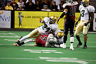 4/12/2007 - Blake Farris (21) of the Frisco Thunder makes the ref's call on a turn over during the Thunder victory over the Alaska Wild, 46-33, in the first professional football game in Alaska.