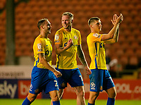 Football - 2021 / 2022 EFL Carabao Cup - Round Two - Blackpool vs. Sunderland -Bloomfield Road - Tuesday 24th August 2021<br /> <br /> Hat trick hero Aiden O'Brien of Sunderland celebrates with his team mates at the end of the game, at Bloomfield Road.<br /> <br /> COLORSPORT/Alan Martin