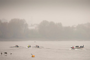 Putney, London, Varsity, Tideway Week, 2nd April 2019, Embankment, Start of the Oxford Cambridge Media week, Championship Course,<br /> [Mandatory Credit: Peter SPURRIER], Tuesday,  02.04.19,