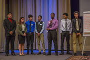 Purchase, NY – 31 October 2014. The team from Saunders Trades and Technical High School presenting. (Left to right: Andrew Cardenas,  Gabriella Perez, Leonardo Gabbato, Charlie Hernandez, Raymond Uduba, Paul Huitz,  Jay'quan Carson.) The Business Skills Olympics was founded by the African American Men of Westchester, is sponsored and facilitated by Morgan Stanley, and is open to high school teams in Westchester County.