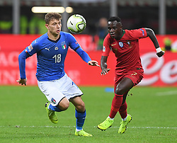 MILAN, Nov. 18, 2018  Italy's Nicolo Barella (L) vies with Portugal's Bruma during the UEFA Nations League soccer match between Italy and Portugal in Milan, Italy, Nov. 17, 2018. The match ended with a 0-0 draw. (Credit Image: © Alberto Lingria/Xinhua via ZUMA Wire)