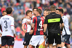"March 10, 2019 - Bologna, Italia - Foto Massimo Paolone/LaPresse.10 marzo 2019 Bologna, Italia.sport.calcio.Bologna vs Cagliari - Campionato di calcio Serie A TIM 2018/2019 - stadio ""Renato Dall'Ara"".Nella foto: rissa fra Nicolo Barella (Cagliari Calcio) e Lyanco Evangelista (Bologna F.C.) ..Photo Massimo Paolone/LaPresse.March 10, 2019 Bologna, Italy.sport.soccer.Bologna vs Cagliari - Italian Football Championship League A TIM 2018/2019 - ""Renato Dall'Ara"" stadium..In the pic: brawl with Nicolo Barella (Cagliari Calcio) and Lyanco Evangelista  (Credit Image: © Massimo Paolone/Lapresse via ZUMA Press)"