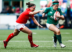 Anna Caplice of Ireland  evades the tackle of Cerys Hale of Wales<br /> <br /> Photographer Simon King/Replay Images<br /> <br /> Six Nations Round 5 - Wales Women v Ireland Women- Sunday 17th March 2019 - Cardiff Arms Park - Cardiff<br /> <br /> World Copyright © Replay Images . All rights reserved. info@replayimages.co.uk - http://replayimages.co.uk