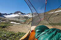 View from tent of Russell Peak and Limestone Lakes Basin, Height-of-the-Rockies Provincial Park British Columbia Canada