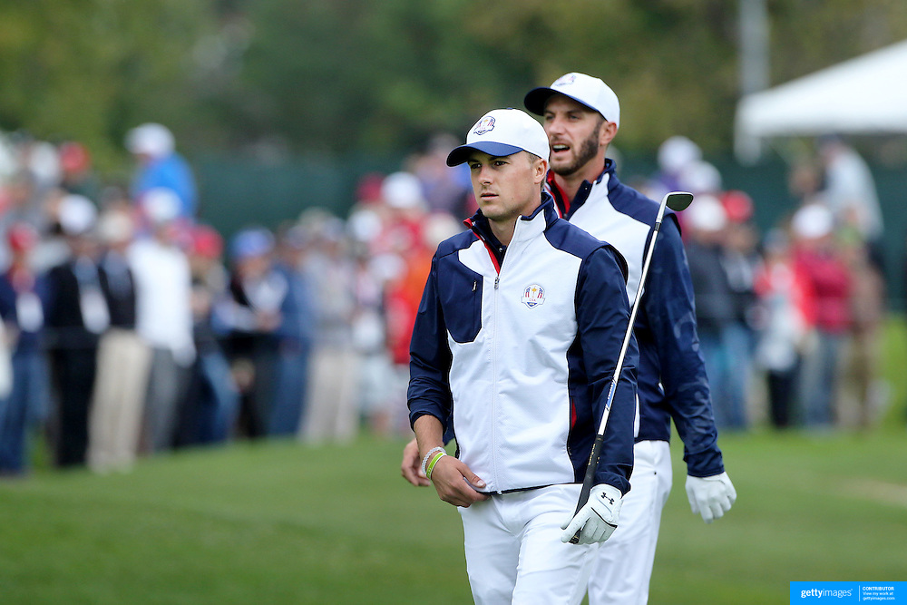 Ryder Cup 2016. Dustin Johnson and Jordan Spieth of the United States during practice day in front of massive crowds at the Hazeltine National Golf Club on September 28, 2016 in Chaska, Minnesota.  (Photo by Tim Clayton/Corbis via Getty Images)