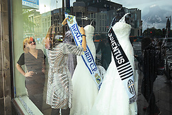 2 June 2017 - UEFA Champions League Final - Previews - Staff at a Bridal wear store dress mannequins with scarves bearing the names of the competing finalists - Photo: Marc Atkins / Offside.