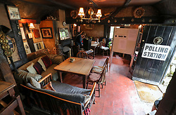 A general view of a polling station at the White Horse Inn in Priors Dean, Hampshire, also known as the 'Pub with no name' , as voters head to the polls across the UK to vote in the general Election.
