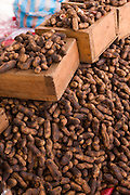 Roasted peanuts on sale at the Sunday market in Tlacolula de Matamoros, Mexico. The regional street market draws thousands of sellers and shoppers from throughout the Valles Centrales de Oaxaca.
