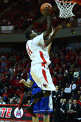 13 January 2012:  Johnny Hill moves in on Grant Gibbs during an NCAA Missouri Valley Conference mens basketball game where the Creighton Bluejays topped the Illinois State Redbirds 87-78 in Redbird Arena, Normal IL