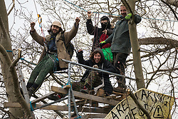 Steeple Claydon, UK. 23 February, 2021. Activists opposed to the HS2 high-speed rail link celebrate remaining in trees at the end of the first day of an operation by National Eviction Team bailiffs to evict them from ancient woodland known as Poors Piece. The activists created the Poors Piece Conservation Project there in spring 2020 after having been invited to stay on the land by its owner, farmer Clive Higgins. Already, local village communities have been hugely impacted by HS2, with 550 acres of land seized including a large section of a nature reserve.