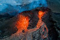 Aerial view of the recent active volcano in the Geldingadalir valley at Fagradalsfjalli mountain, Reykjanes Peninsula, Iceland.