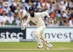 England's Moeen Ali during day four of the First Investec Test match at Lord's, London. PRESS ASSOCIATION Photo. Picture date: Sunday July 9, 2017. See PA story CRICKET England. Photo credit should read: Nigel French/PA Wire. RESTRICTIONS: Editorial use only. No commercial use without prior written consent of the ECB. Still image use only. No moving images to emulate broadcast. No removing or obscuring of sponsor logos.