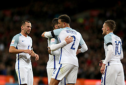 Players of England celebrate after scoring during the International Friendly Match between England and the Netherlands at Wembley Stadium in London, Britain, on March 29, 2016. England lost 1-2. EXPA Pictures © 2016, PhotoCredit: EXPA/ Photoshot/ Han Yan<br /> <br /> *****ATTENTION - for AUT, SLO, CRO, SRB, BIH, MAZ, SUI only*****