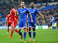 CELE  - Cardiff City's Joe Ralls celebrates scoring the opening goal <br /> <br /> Photographer /Ashley CrowdenCameraSport<br /> <br /> The EFL Sky Bet Championship - Cardiff City v Birmingham City - Saturday 11th March 2017 - Cardiff City Stadium - Cardiff<br /> <br /> World Copyright © 2017 CameraSport. All rights reserved. 43 Linden Ave. Countesthorpe. Leicester. England. LE8 5PG - Tel: +44 (0) 116 277 4147 - admin@camerasport.com - www.camerasport.com