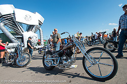 Dalton Walker built Flathead at the Rat's Hole bike show at the Buffalo Chip Campground during the 75th Annual Sturgis Black Hills Motorcycle Rally.  SD, USA.  August 6, 2015.  Photography ©2015 Michael Lichter.