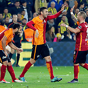 Galatasaray's Olcan Adin (L), Burak Yilmaz (C) and Wesley Sneijder (R) during their Turkish super league soccer derby Fenerbahce between Galatasaray at the Sukru Saracaoglu stadium in Istanbul Turkey on Sunday 25 October 2015. Photo by Kurtulus YILMAZ/TURKPIX