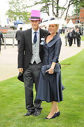 BEAR GRYLLS and his wife at the first day of the 2010 Royal Ascot Racing festival at Ascot Racecourse, Berkshire on 15th June 2010.