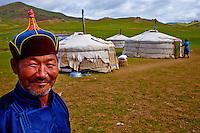 Mongolie, province de Bayankhongor, campement nomade, Sukhee Ninjin, 55 ans // Mongolia, Bayankhongor province, nomad camp, Sukhee Ninjin, 55 years old