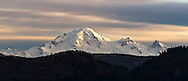 View of Mount Baker from the Canadian side of the border at Sumas Prairie in Abbotsford, British Columbia, Canada