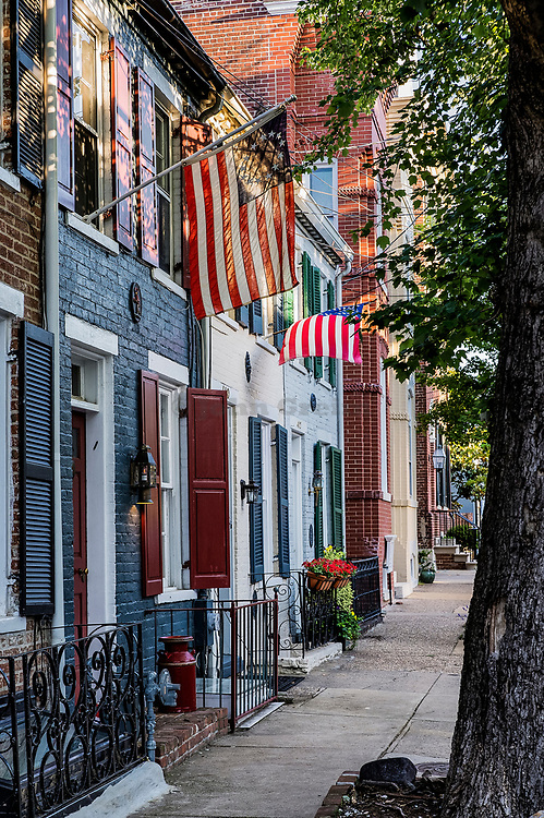 Townhouses in historic Old Town, Alexandria, Virginia, USA