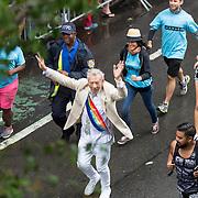 New York LGBT Pride Parade 2015, corner of Christopher Street and Gay Street, West Village Ian Mckellen