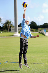 Prince Harry plays volleyball as he attends a youth sports festival at the Sir Vivian Richards Stadium in North Sound, Antigua, on the second day of his tour of the Caribbean.