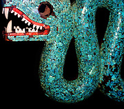 Aztec double headed serpent made from turquoise mosaic pieces and carved in wood. 15th-16th century AD. Probably a ceremonial chest ornament.