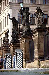 CZECH REPUBLIC BOHEMIA PRAGUE JUL95 - Prague Castle guards on duty at the north gate of Hradcany. ..jre/Photo by Jiri Rezac..© Jiri Rezac 1995..Tel:   +44 (0) 7050 110 417.Email: info@jirirezac.com.Web:   www.jirirezac.com