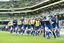 October 7, 2017 - Dublin, Ireland - Leinster players during the warm-up during the Guinness PRO14 match between Leinster Rugby and Munster Rugby at Aviva Stadium in Dublin, Ieland on October 7, 2017  (Credit Image: © Andrew Surma/NurPhoto via ZUMA Press)