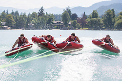 17.07.2019, Sankt Gilgen, AUT, OeSV, Pressetermin Herren Speed Team, Wasserskifahren und Wakesurfen beim Wolfgangsee, im Bild v.l. Christoph Neumayer, Johannes Kröll, Christoph Neumayer, Vincent Kriechmayr // f.l. Christoph Neumayer Johannes Kröll Christoph Neumayer Vincent Kriechmayr during a press conference of the Austrian Ski Association (OeSV), Mens Speed Team waterskiing and wakesurfing at the Wolfgangsee Sankt Gilgen, Austria on 2019/07/17. EXPA Pictures © 2019, PhotoCredit: EXPA/ Johann Groder