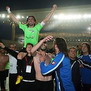 Konyaspor's players Omer HACISALIHOGLU (L) celebrates victory during their Turkish soccer Play Off final match Altayspor between Konyaspor at Ataturk Olympic Stadium in Istanbul Turkey on Sunday, 23 May 2010. Photo by TURKPIX