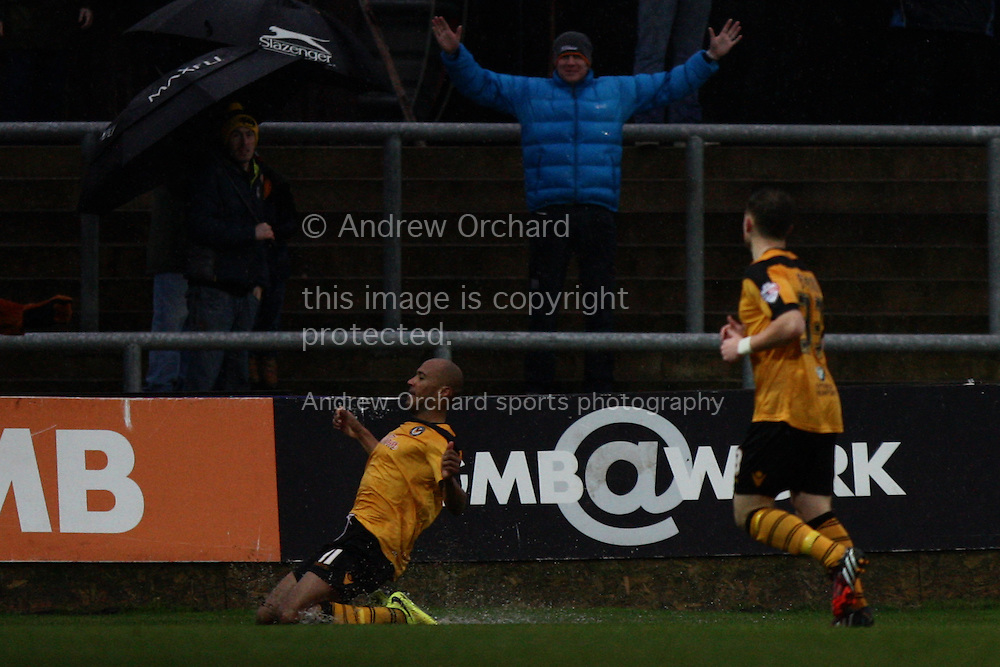 Chris Zebroski of Newport County (left) celebrates after scoring his side's first goal. Skybet football league two match, Newport County v Plymouth Argyle at Rodney Parade in Newport, South Wales on Boxing Day, Friday 26th December 2014<br /> pic by Mark Hawkins, Andrew Orchard sports photography.