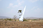 The bamboo rocket flying contest, a highlight of the PaO National Day on 24th March in Kayah State, Myanmar