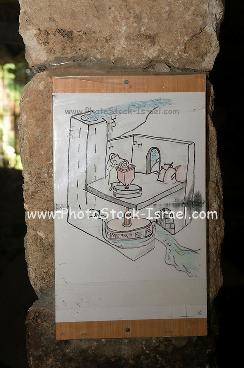 Schematic drawing of a water-powered (Chimney type) flour mill Hermon Stream Nature reserve and Archaeological Park (Banias) Golan Heights Israel