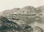 Settlement of Kangaamiut, Greenland in the late 19th century, circa 1889,