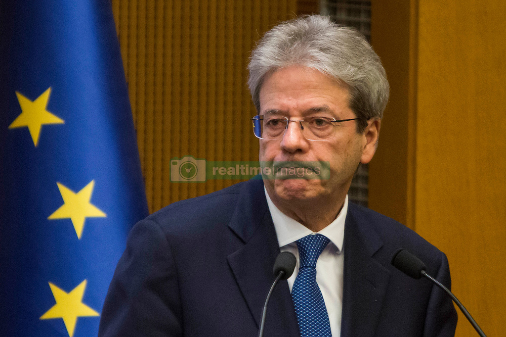 Italian Prime Minister Paolo Gentiloni gives the last Press Conference of the year at the Parliament conference room in Rome on December 28, 2017. 28 Dec 2017 Pictured: Italian Prime Minister Paolo Gentiloni during the last Press Conference of the year at the Parliament conference room in Rome on December 28, 2017. Photo credit: Stefano Costantino / MEGA TheMegaAgency.com +1 888 505 6342