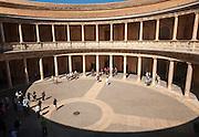 Courtyard inside the Palacio de Carlos V, Palace of Charles V, Alhambra complex, Granada, Spain