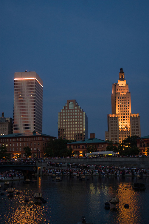 The Providence skyline from the turning basin prior to the lighting of Waterfire. On the right is the Bank of of American Building, formerly the Industrial Trust Tower, and sometimes known as the Superman Buildling. On the left is One Financial Plaza, formerly the Hospital Trust Tower.