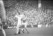 The All Ireland Senior Football Final.1982.19.09.1982.09.19.1982.19th September 1982..The senior final was contested between Offaly and Kerry. Offaly won the title by the narrowest of margins 1.15 to 17 points..An Offaly defender takes control near his goal.